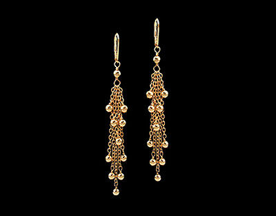 14K Gold gf  Filigree Tassel Long Dangle Earrings
