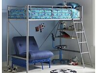 Argos Sit 'n' Sleep Metal Single High Sleeper Bed Frame with Blue Futon. Collection only