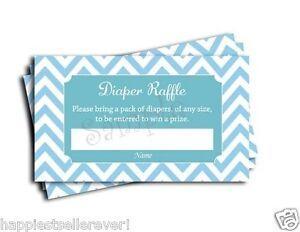 ... 50 Blue Chevron Diaper Raffle Tickets baby shower game lottery Boy