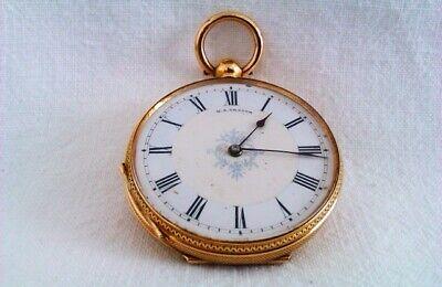 Rare & Beautiful 18ct Gold & Enamel Key Wind Pocket Watch H.B.Crouch c1892 36gr