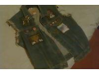Cut Sleeve Denim Jacket and Judas Priest tour books