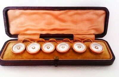 Stunning set Of 6 Boxed 9ct Rose Gold & Mother of Pearl Edwardian Buttons c1909