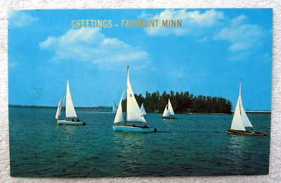 POSTCARD GREETINGS FROM FAIRMONT MINNESOTA SAILBOATS ON BLUE WATER #9J