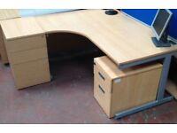 1600mm Beech Curved Desk & Side Pedestal