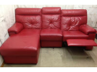 very good condition red leather corner recliner sofa