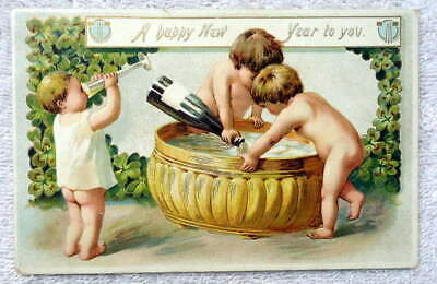 1907 TUCKS NEW YEARS POSTCARD NAKED TODDLERS DRINKING CHAMPAGNE TUB #2](New Years Champagne)
