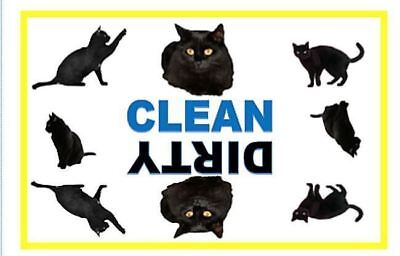 Black Cat Dishwasher Magnet Clean Dirty portable   XL SIZE BEST