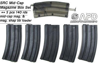 - SRC MidCap M4 Magazine 5x140 rounds AEG Airsoft Mid Capacity Mag Lightweight Set