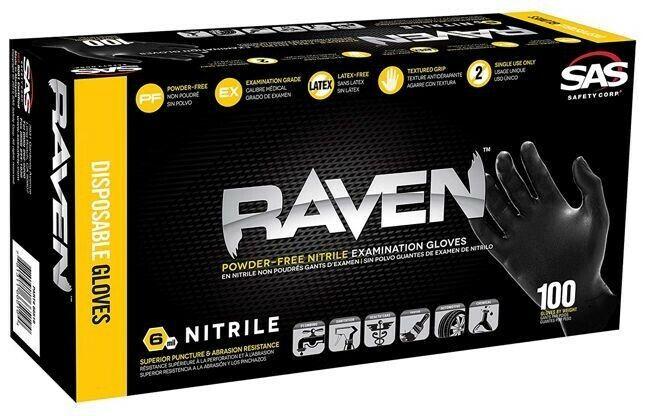 SAS Raven Nitrile Black Glove, X-LARGE 66519 - Free Shipping