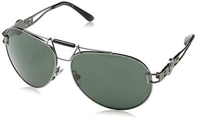 RARE Authentic VERSACE Gunmetal/ Green Medusa Aviator Sunglasses VE 2160 1001/71