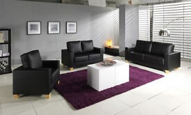 **14-DAY MONEY BACK GUARANTEE!** - Brand New Italian Leather Sofa Set - DELIVERED SAME DAY!