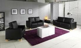 **7-DAY MONEY BACK GUARANTEE!** - Brand New Italian Leather Sofa Set - DELIVERED SAME DAY!