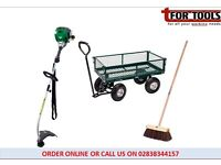 Draper 58552 Steel Mesh Garden Cart + Petrol Strimmer & Yard Brush / Broom