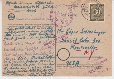 Alliierte Besetzung  928  EF  als Postkarte von Hildesheim in die USA  1948 ()