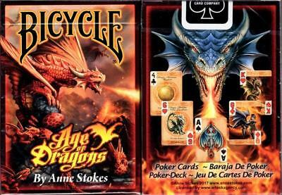 Poker Card Box - 2 Decks Bicycle Anne Stokes Age Of Dragons Standard Poker Playing Cards New Box