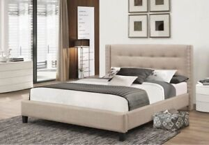 .BRIANE FABRIC PLATFORM QUEEN BED (GREAT PRICE PAY ON DELIVERY)