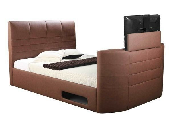 Double - Brown Leather 32inch TV Bed