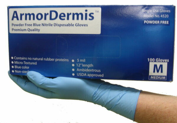 ArmorDermis 4520 Powder Free Disposable Nitrile Gloves, 5 MIL 12″ Length, LARGE Business & Industrial