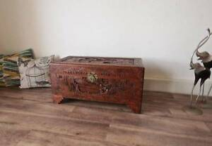 Large Antique Carved Camphor Wooden Chest Storage Blanket Box Hurlstone Park Canterbury Area Preview