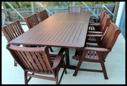 Quality 9 piece kwila OUTDOOR DINING SETTING