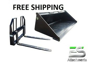 Es 66 Smooth Bucket 48 Walk Thru Pallet Forks Combo Skid Steer Free Shipping
