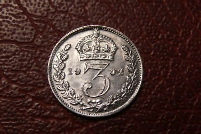 SILVER 1902 THREEPENCE  (1076)