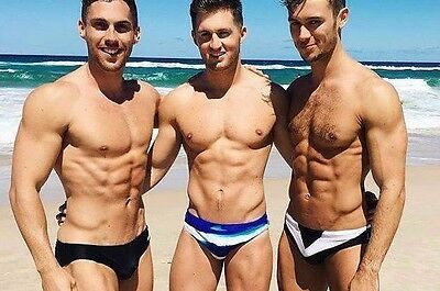 "Shirtless Male Muscular Beefcake Speedo Beach Dude Trio PHOTO 4""X6"" Pinup C2088"