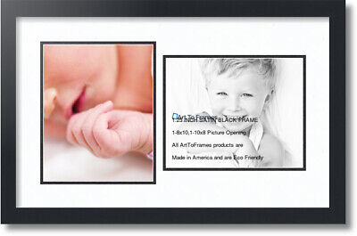 """ArtToFrames Collage Mat Picture Photo Frame 2 8x10"""" Openings"""
