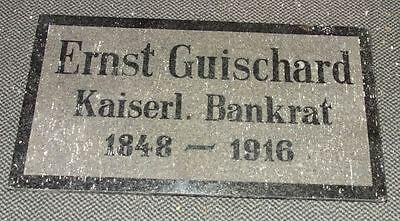 antike Grabplatte Grabstein Ernst Guischard Kaiserlicher Bankrat 1848-1916
