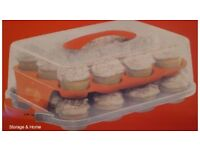 Oneida Cupcake Tray, Cover, Holder. Used only once, great for transport. Great condition.
