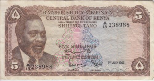 Kenya Banknote P1b-8988 5 Shillings 1.1.1967 Prefix A/13, F-VF