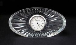SIGNED WATERFORD CRYSTAL IRELAND CLOCK OVAL SHAPED DESK MANTLE IRISH