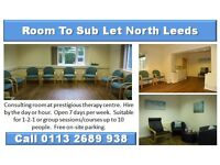 Room to Sub-Let in prestigious therapy centre in North Leeds