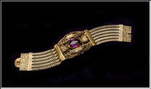 Gorgeous Antique Art Deco Czechoslovakia Amethyst Glass Filigree Wide Bracelet
