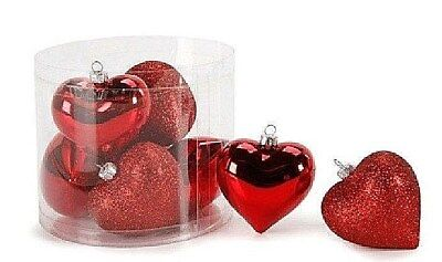 - 8 pc Puffed Heart Ornaments - RED shiny & glitter - 2.5