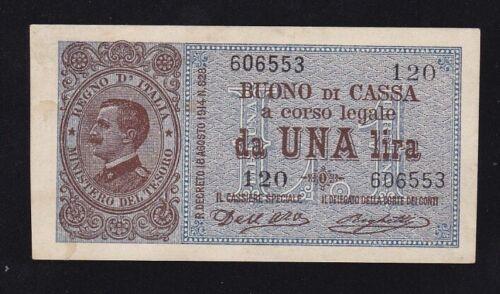 ITALY ----- 1  LIRA  1914 ----- XF/a-UNC ----