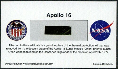 Own a Genuine Piece of Apollo 16 Kapton Thermal Protection Foil - Just $14.95