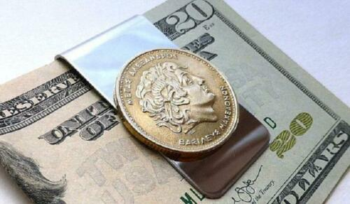 ALEXANDER the GREAT Money Clip - authentic greek coin / stainless steel clip