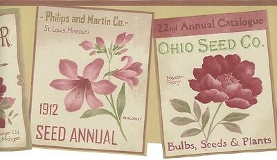 Vintage Red Flower Seed Catalog Packets Country Garden Theme Wall Paper Border