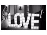 Wedding Chair covers, candy cart, venue dressing, starlit backdrop, 4FT LOVE letters hire in Surrey