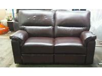 Brand new real leather 2 seater recliner sofa good savings only £255
