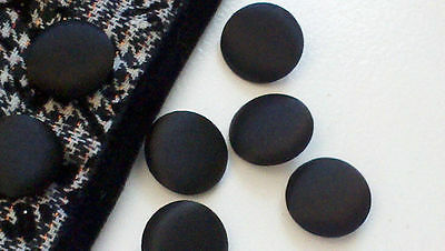 1 Inch Solid Black Fabric Buttons, 25 mm DIY Supply. One Dozen. Metal Back - One Inch Button Supplies