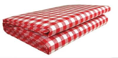 Red Checkered Tablecloth (Heavy Duty Checkered Red Vinyl Picnic Tablecloth Cover Table Cloth)
