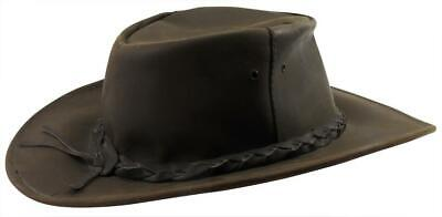 """Jacaru Traditional Oil Australian Brown Leather Outback Hat Sz XL 7 1/2 - 7 5/8"""""""