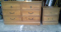 Solid Wood Dresser and Matching Side Table