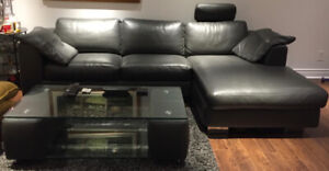 Leather Sofa & Matching Coffee Table, Mint Condition