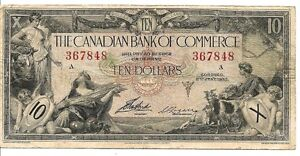 1935 Canadian Bank Of Commerce $10.00 paper Money