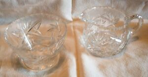 Vintage Pinwheel Crystal Cream and Sugar