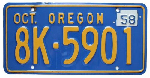Vintage Oregon 1956 License Plate with 1958 Tab, 8K-5901, High Quality