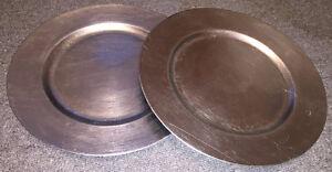 Wedding Decor - 2 ea Silver & White Charger Plates
